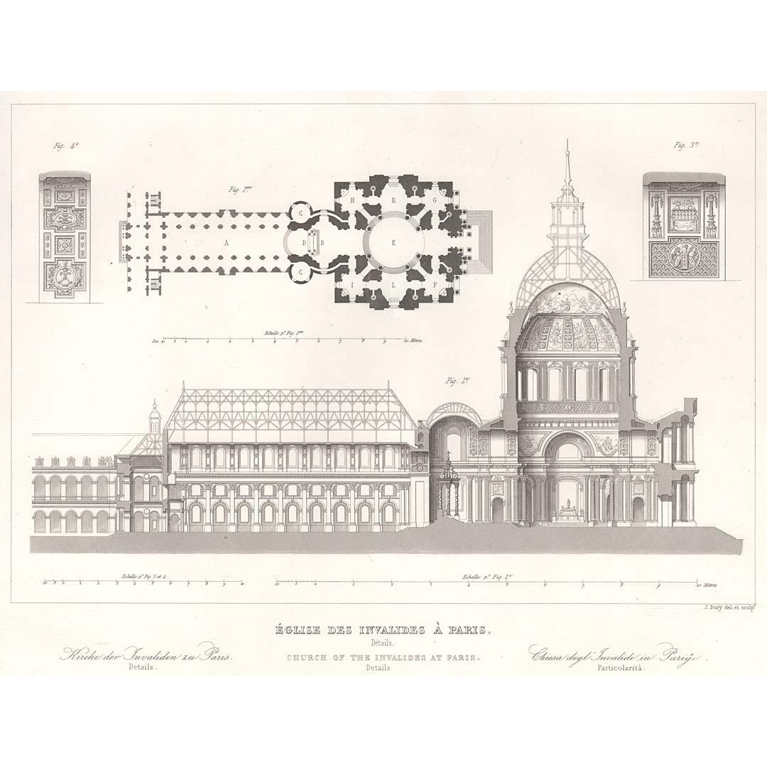 Paris Des Invalides Church Section And Plan BRITTON IMAGES