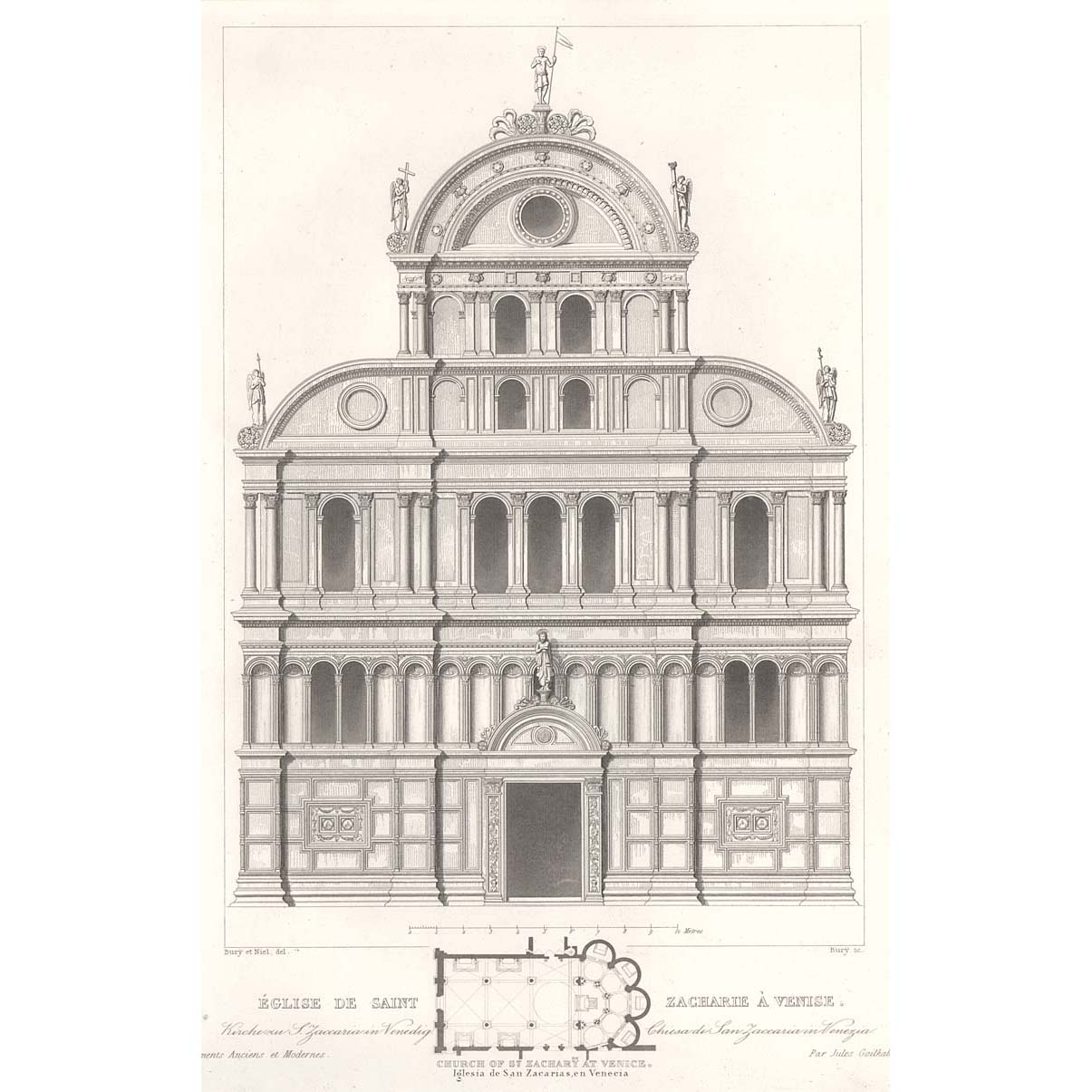 Sample Front Elevation Church : Venice church of st zaccaria front elevation and plan