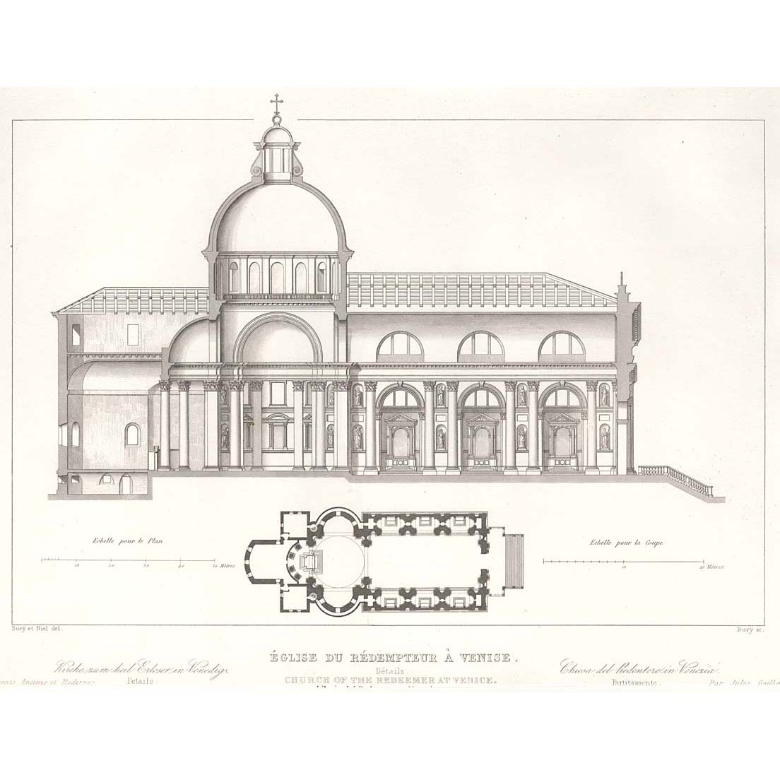 venice church of the redeemer section and plan britton images