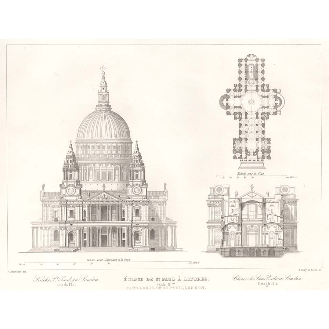 Plan elevation section for South cathedral mansions floor plans