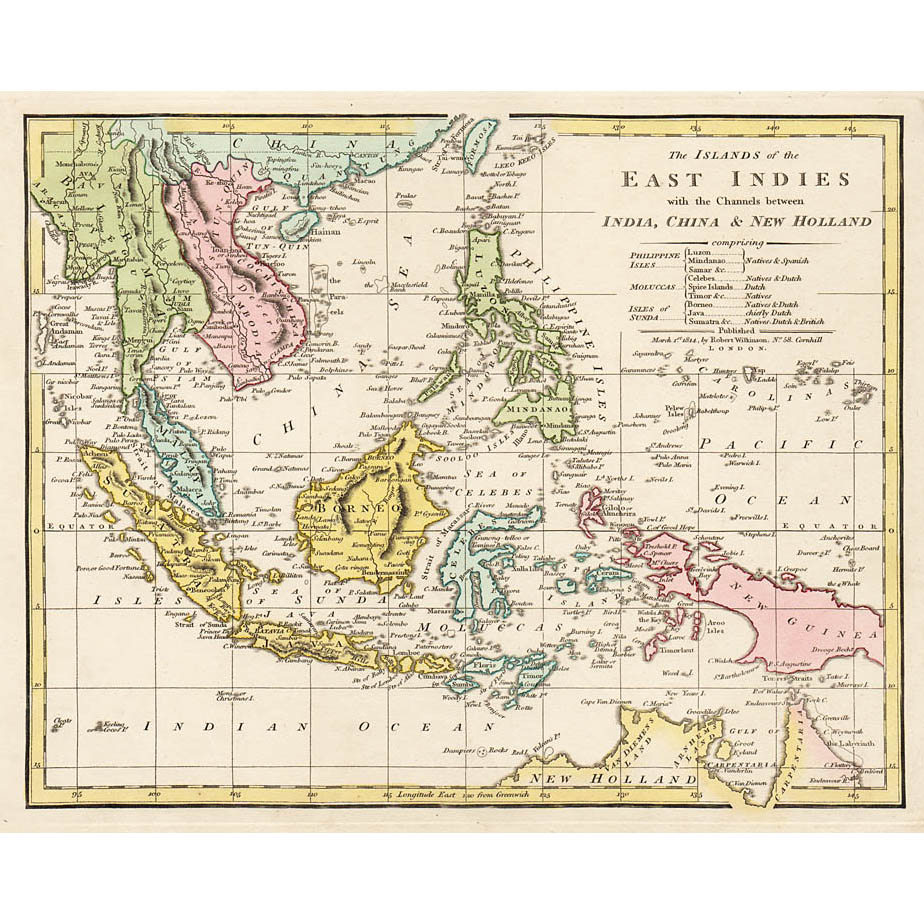Map Of East Indies 1814 Britton Images